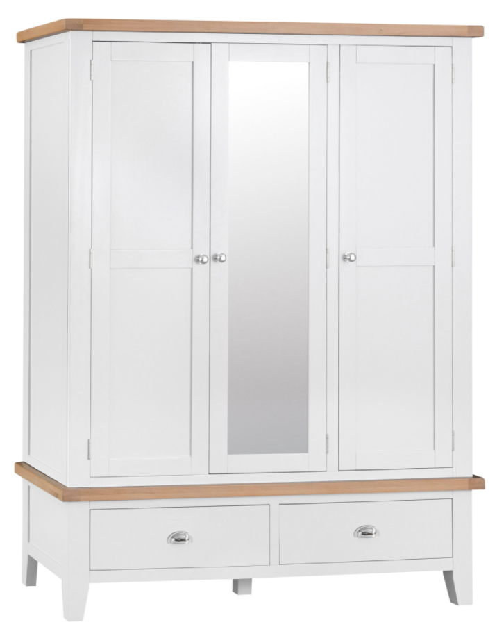 Thames White 3 Door Wardrobe with Mirror