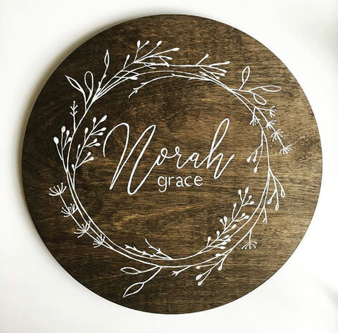 Custom Round - name with wreath