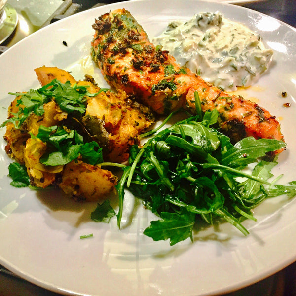 Seared Indian Spiced Salmon with Raita