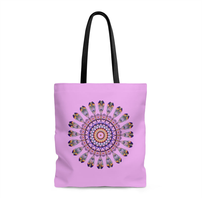 Mandala Boho Yoga Purple Handmade Designed Shopping Tote Bag Handbag