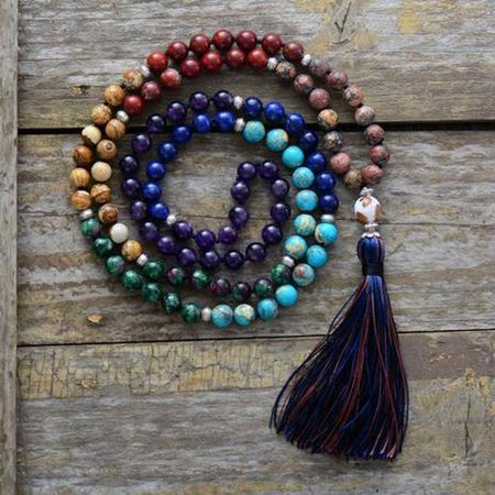 7 Chakra Mala 8 mm Natural Stone Meditation Long Tassel Necklace Bohemian Long Tribal Necklaces