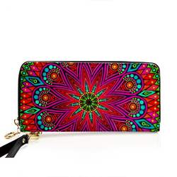 Mandala PU Leather Zip Around Wallet For Card, phone and Money-Spirylife