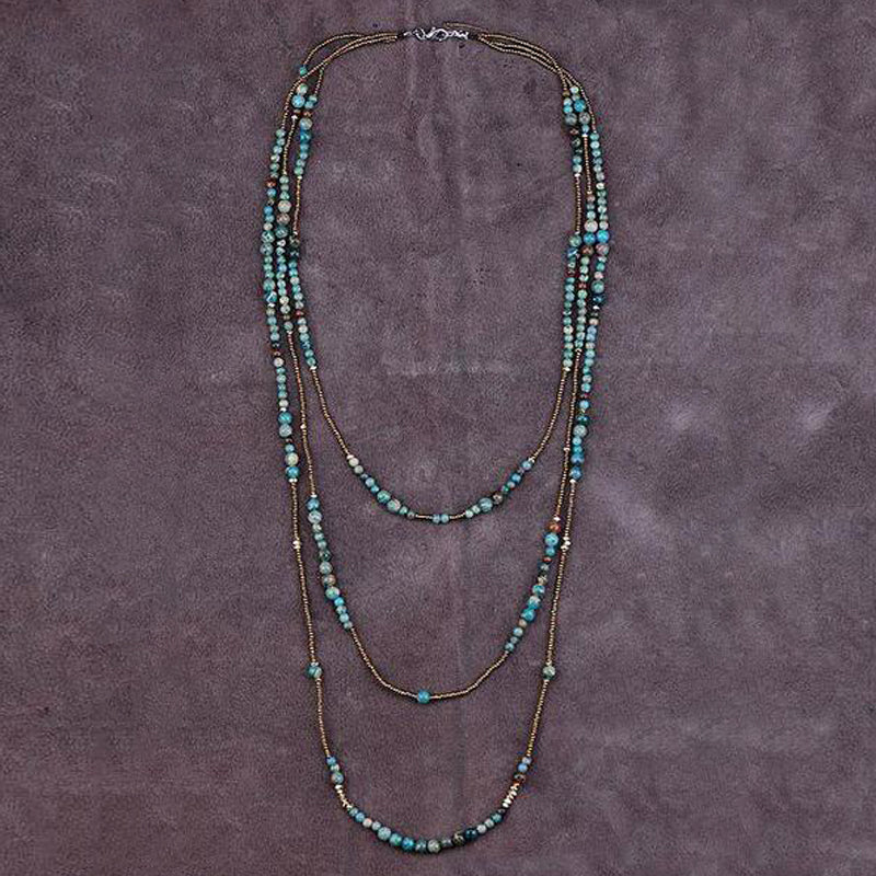 Natural Stones Seed Beads 3 Layers Necklace