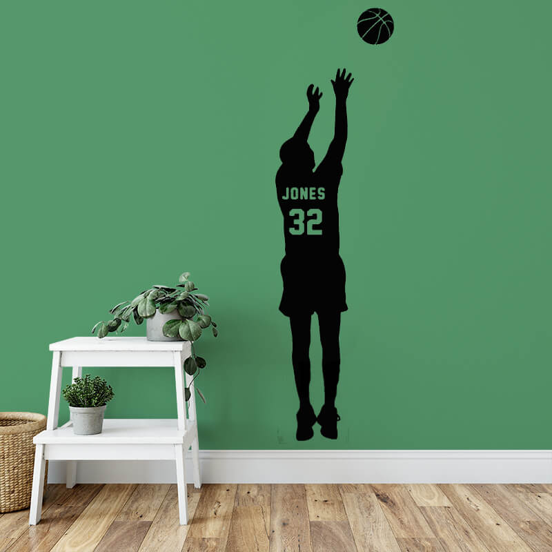 Personalized Boys Basketball Jersey Name & Number Wall Sticker-Spirylife