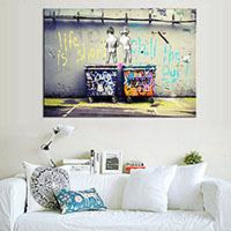 Banksy Life Is Short Street Graffiti Canvas Art Print Wall