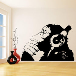 Banksy Monkey Wall Decal Other Wall Sticker banksy-vinyl-wall-decal-monkey-with-headphones-chimp-listening-to-music-in-earphones-street-graffiti-stickerl-wall-mural-w-23 Black / 90X120CM
