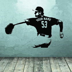 Baseball player Wall art Decal sticker Choose Name number personalized home decor Wall Stickers For Kids Room Boy Bedroom Sports Wall Sticker baseball-player-wall-art-decal-sticker-choose-name-number-personalized-home-decor-wall-stickers-for-kids-room-boy-bedroom black / 56X77cm