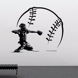 Baseball Player Wall Sticker sports Wall Sticker baseball-player-shorting-with-big-baseball-vinyl-wall-lsticker-home-bedroom-art-design-sport-series-wallpapery-959 black / 56x56cm