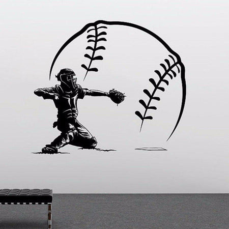 Baseball Player Wall Sticker Sports Shorting With Big