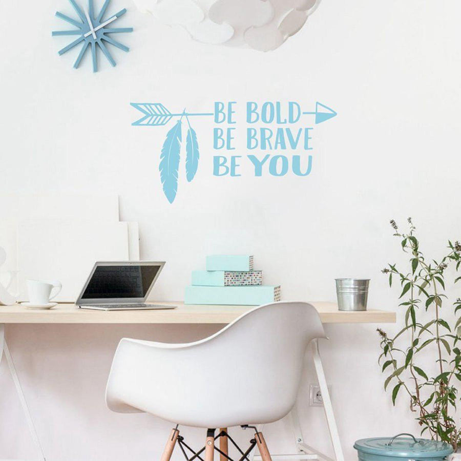 Be Brave Arrow Wall Sticker Quotes Wall Sticker be-brave-arrow-wall-sticker-1 lightBlue / 56cm x 28cm