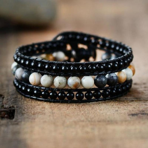 Black Onyx Leather Wrap Bracelet Boho Bohemian Gypsy Hippie Handmade Jewelry Bracelets