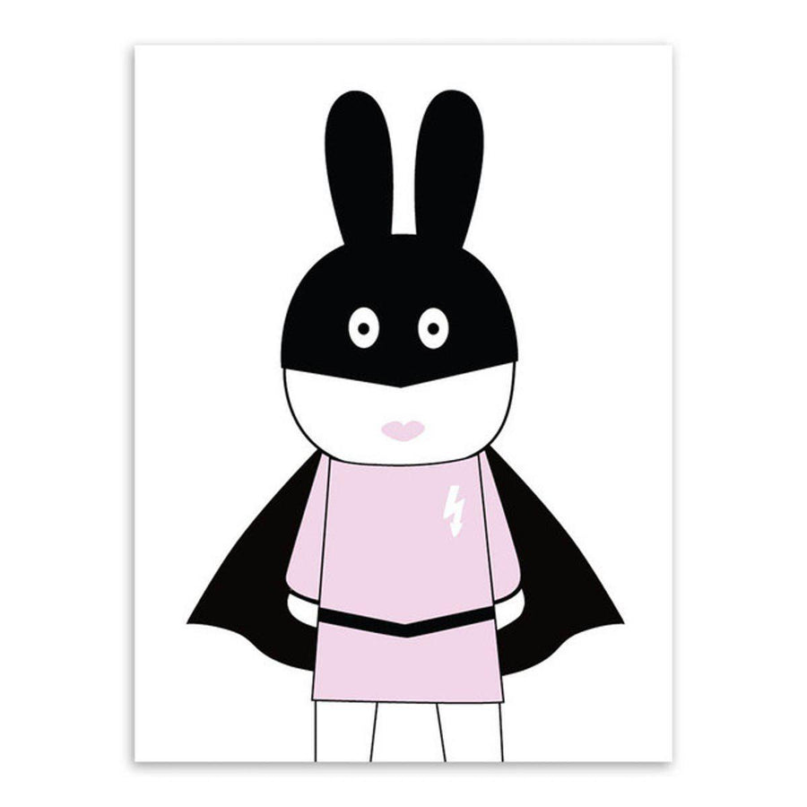 Black White Kawaii Rabit Art cartoon Wall Art nordic-black-white-kawaii-rabit-art 13x18 cm No Frame / Peter pink