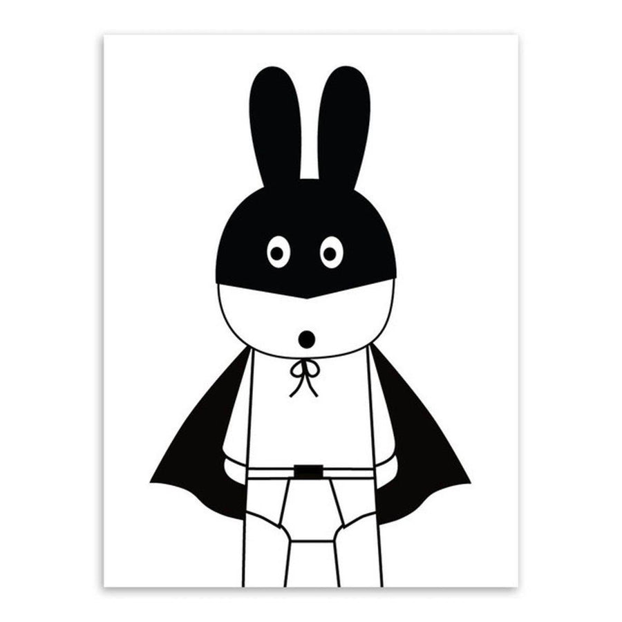 Black White Kawaii Rabit Art cartoon Wall Art nordic-black-white-kawaii-rabit-art 13x18 cm No Frame / Peter Rabbit