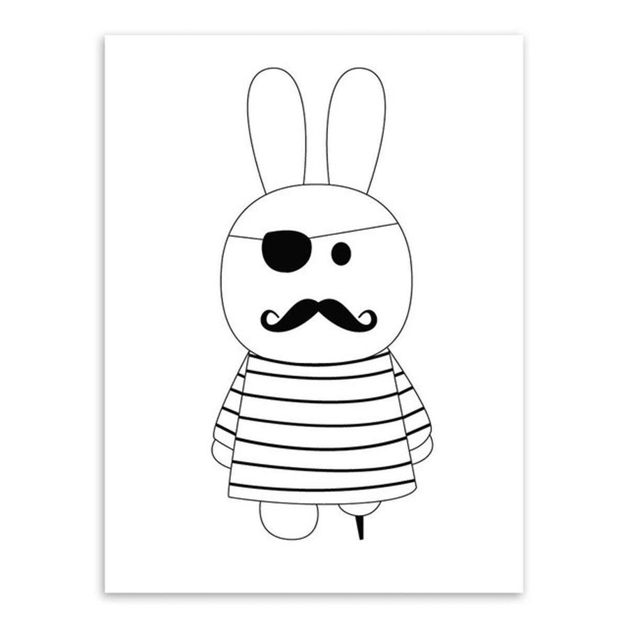 Black White Kawaii Rabit Art cartoon Wall Art nordic-black-white-kawaii-rabit-art 13x18 cm No Frame / Pirate rabbit