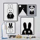 Black White Kawaii Rabit Art cartoon Wall Art nordic-black-white-kawaii-rabit-art 13x18 cm No Frame / snow mountains