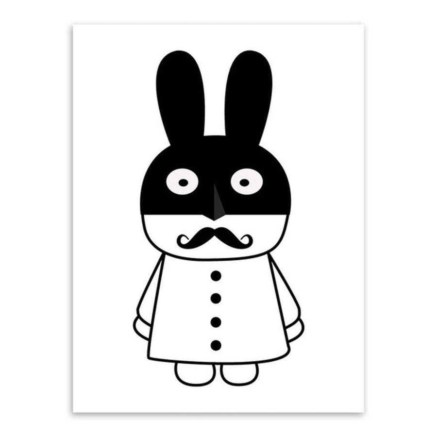 Black White Kawaii Rabit Art cartoon Wall Art nordic-black-white-kawaii-rabit-art 30x40 cm No Frame / Kawaii Tuzki