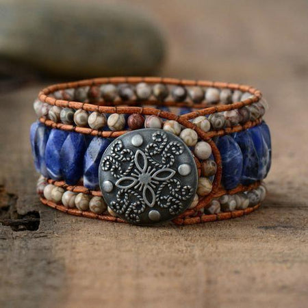 Blue Boho Jasper Leather Bracelet Bohemian Handmade Women Jewelry Bracelets