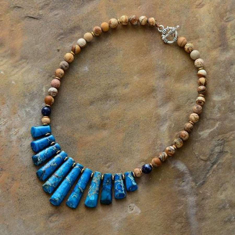 Blue Brown Jasper Natural Stone Choker Necklace bohemian jewelry women Necklaces