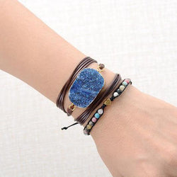 Blue Natural Gilded Druzy Stone Wrap Bracelet-Spirylife