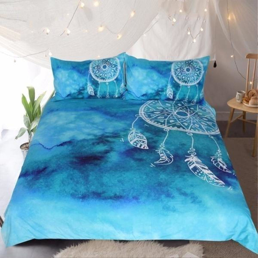Blue Watercolor Dream Catcher Bedding Set Duvet Cover Pillow Shams Bohemian Gypsy Feather Bedroom