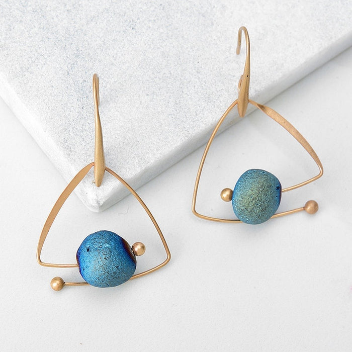 organic natural earrings stone marble turquoise tone statement handmade teardrop caged theon boho gold