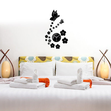 Butterfly Wall Clock Clocks Wall Sticker clock-wall-sticker-3 Black