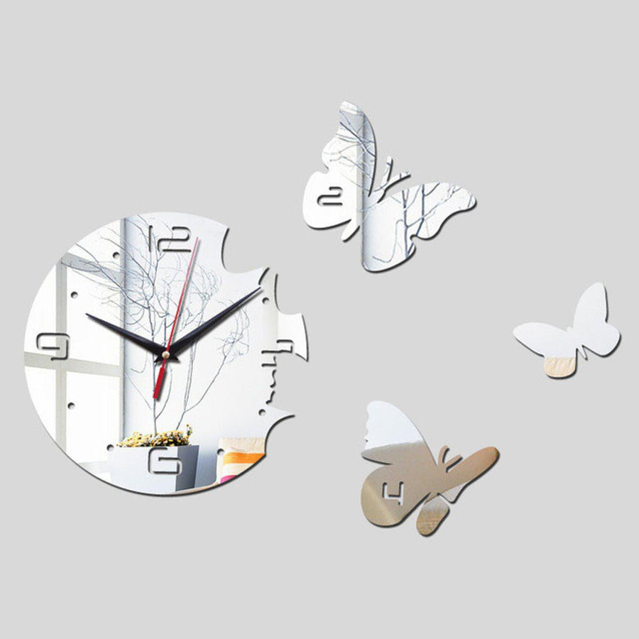 Butterfly Wall Clock Clocks Wall Sticker clock-wall-sticker Black