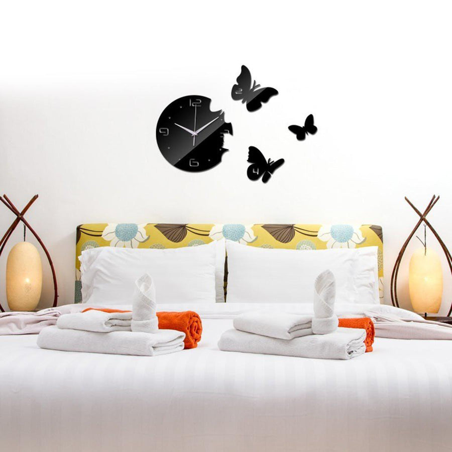 Great ... Butterfly Wall Clock Clocks Wall Sticker Clock Wall Sticker Black ... Design Inspirations