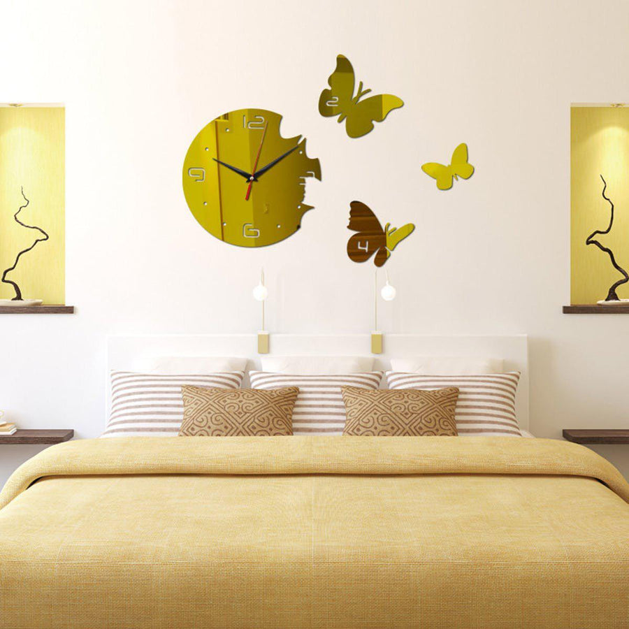 Butterfly Wall Clock Clocks Wall Sticker clock-wall-sticker Gold