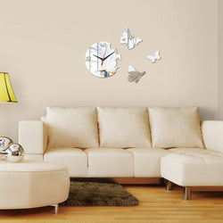 Butterfly Wall Clock Clocks Wall Sticker clock-wall-sticker Silver