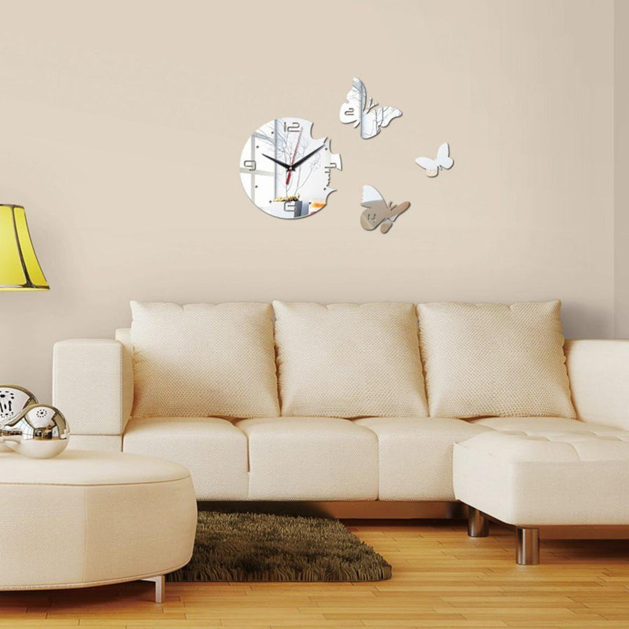 Butterfly Wall Clock Wall Decal Clock Interior Decorating Ideas ...
