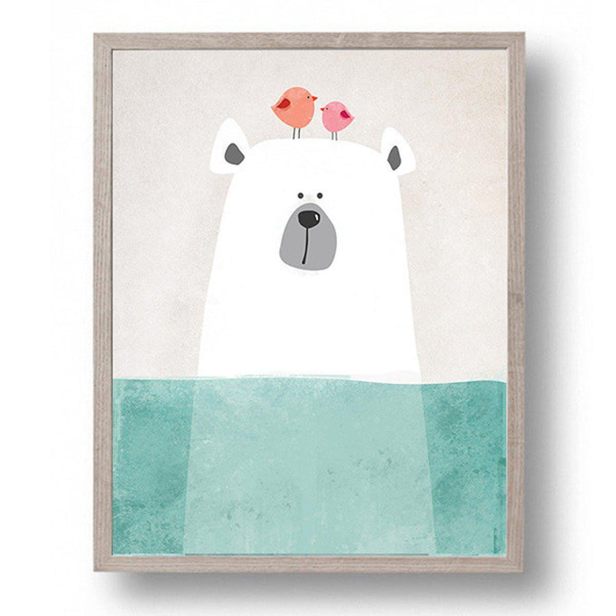 Cartoon Animals Art cartoon, Nordic Wall Art cartoon-animals-art 8X10 inch No Frame / Bear in water
