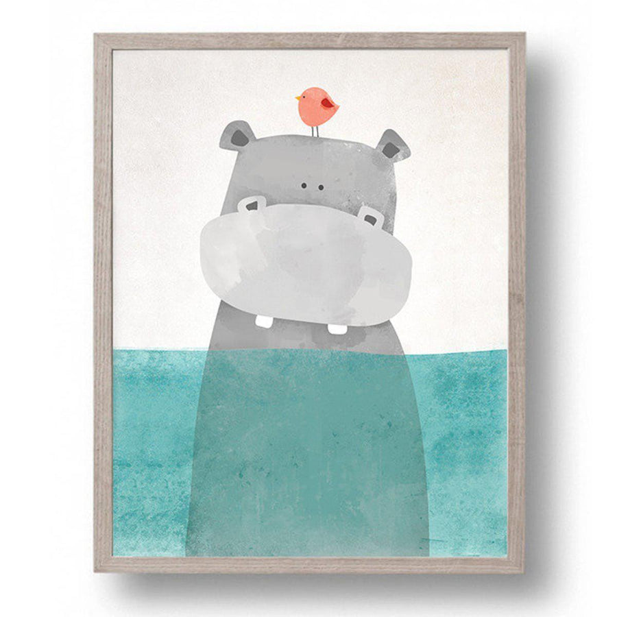 Cartoon Animals Art cartoon, Nordic Wall Art cartoon-animals-art 8X10 inch No Frame / Hippo in water