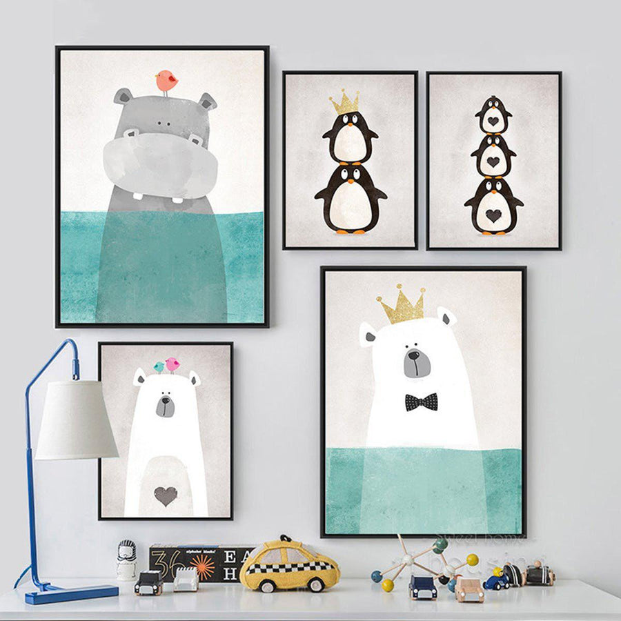 Cartoon Animals Art cartoon, Nordic Wall Art cartoon-animals-art 8X10 inch No Frame / Hippo with crown