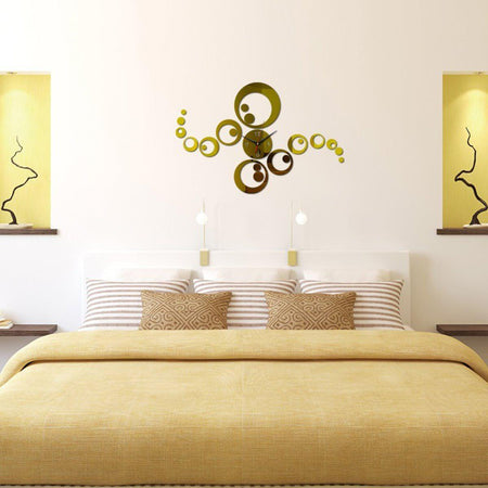 Circles Wall Clock Clocks Wall Sticker clock-wall-stickers Gold