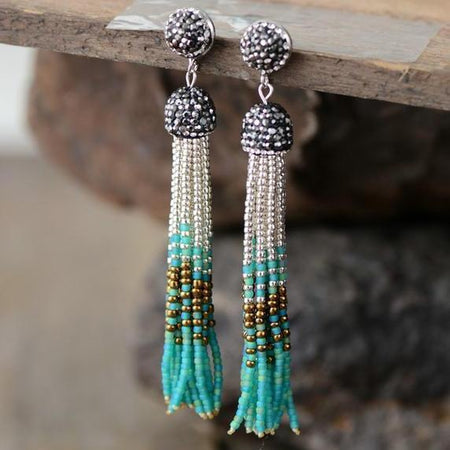 Colorful Seed Beads Long Dangle Earrings-Spirylife