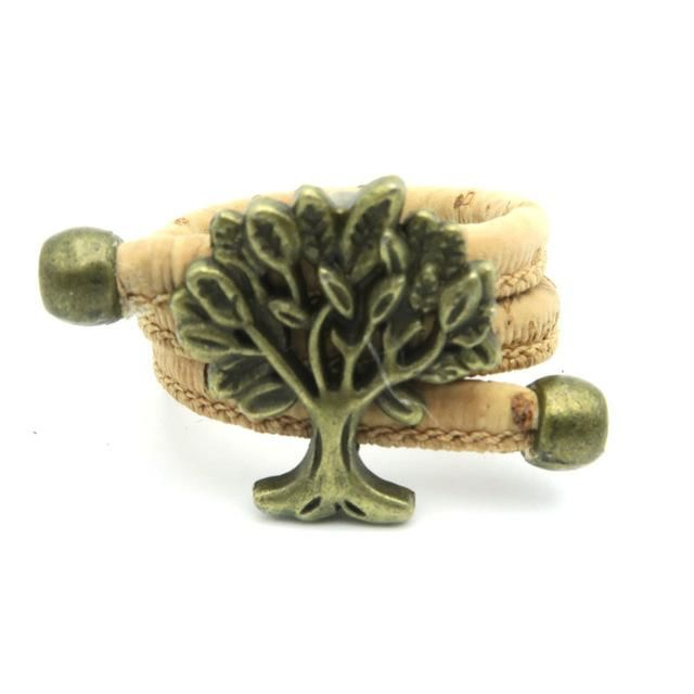Cork Tree Of Life Adjustable Handmade Organic Vegan Ring Jewelry Women Antique Brass
