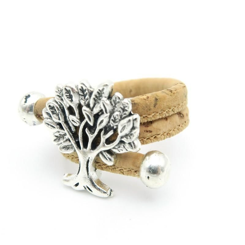 Cork Tree Of Life Adjustable Handmade Organic Vegan Ring Jewelry Women Antique Silver