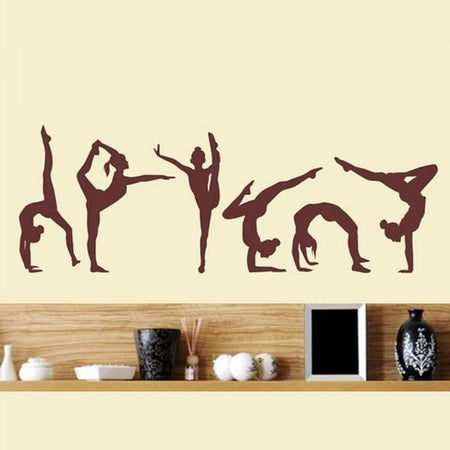 Dancing Girls Wall Sticker sports Wall Sticker six-dance-girls-gymnastics-wall-sticker-sport-vinyl-art-wall-mural-sticker-for-home-decoration-wall-papers-y-228 saddlebrown / 120x40cm