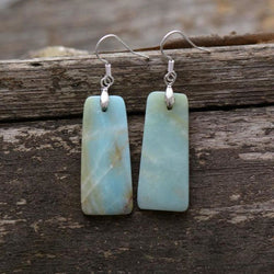 Dangle Natural Stone Bohemian Gypsy Amazonite Earrings Women Jewelry