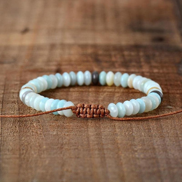 Disc Shape Natural Stone Amazonite Bracelet-Spirylife