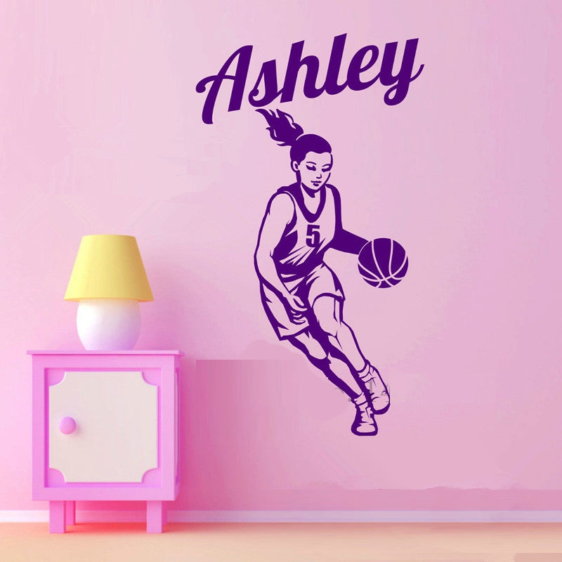 Basketball Player Personalized Girl Name and Number Wall Sticker