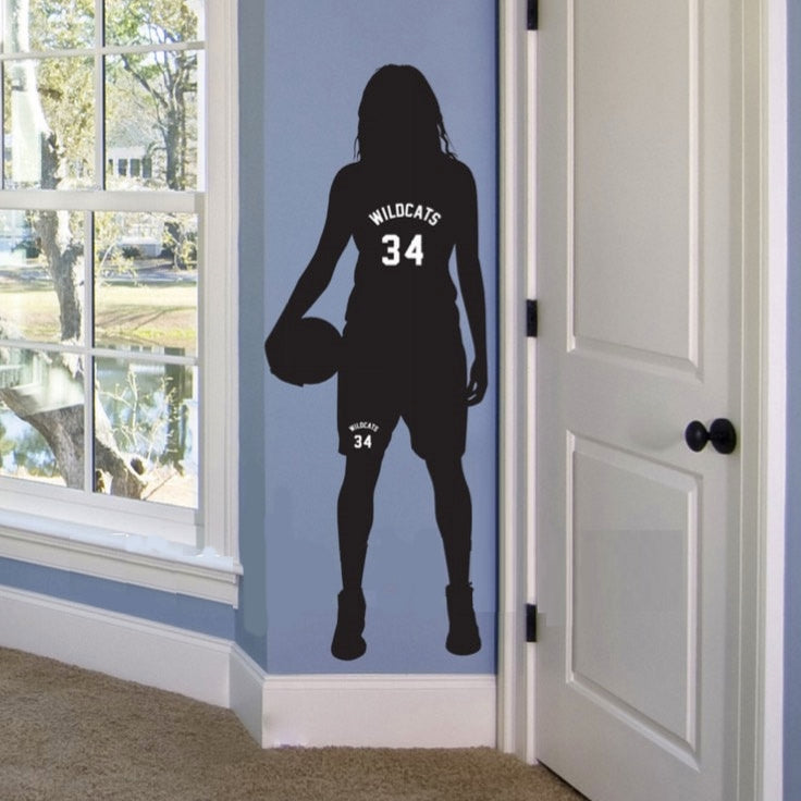Personalized Name and Number Girls Basketball Wall Sticker DIY Decor