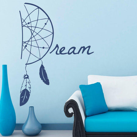 Dream Catcher Wall Sticker Feathers Wall Sticker dreamcatcher-wall-sticker Blue / 38x55cm