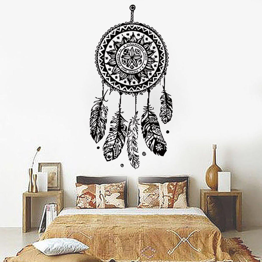 Dreamcatcher Wall Sticker Feathers Wall Sticker 112x56cm-dreamcatcher-wall-sticker-vinyl-home-decor-decals-feathers-night-symbol-indian-stickers-bedroom-livingroom-art-d698 black