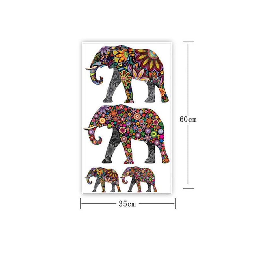 Elephant Flower Wall Sticker Other Wall Sticker elephant-flower-pattern-wall-sticker-removable-decal-home-decor-wallpaper-ethnic-unique-style-pvc-living-room-decor-2016-newest Default Title