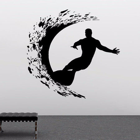 Extreme Surfer Wall Sticker Sports Wall Sticker sport-series-wall-decal-extreme-surfer-adventure-surfing-wall-sticker-vinyl-art-design-wall-mural-home-bedroom-decoration-y-957 black / 56x56cm