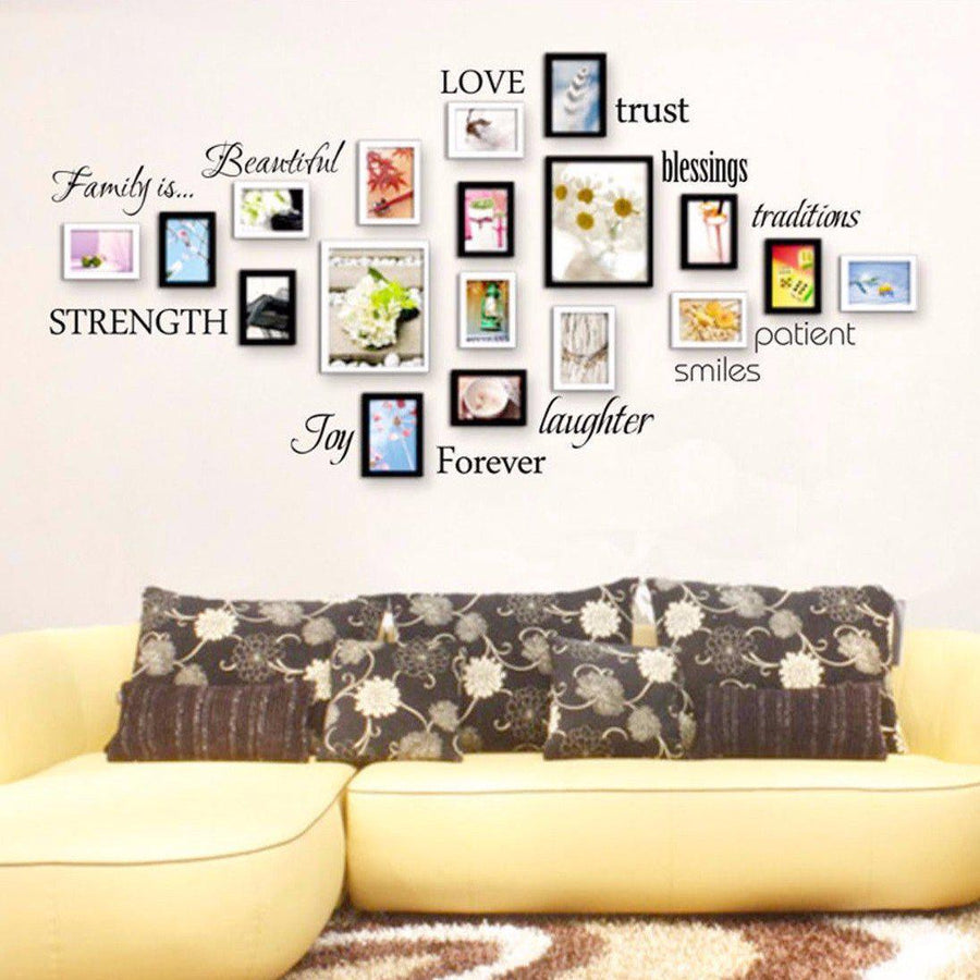 ... Family Quotes Wall Sticker For Photo 12 words love blessing smile Joy Forever Vinyl Wall Decal ...  sc 1 st  Spirylife & Family Tree Words Wall Sticker Words wall Decal Joy Smile Blessing ...