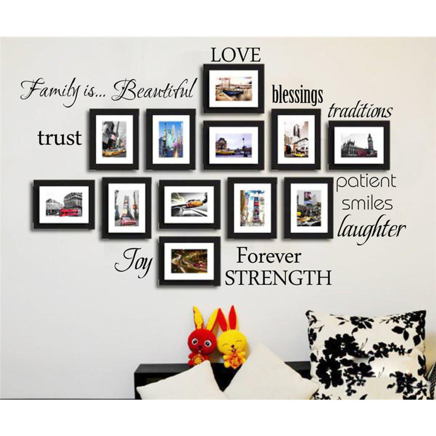 ... Family Quotes Wall Sticker For Photo 12 Words Love Blessing Smile Joy  Forever Vinyl Wall Decal ...