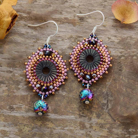 Fancy Seed Beads Lava Stone Drop Earrings-Spirylife